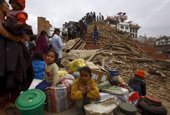 Afectados por el terremoto que ha sacudido Katmandú (Nepal)