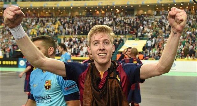 Batería, del FC Barcelona, tras alcanzar la final de la Copa de Europa
