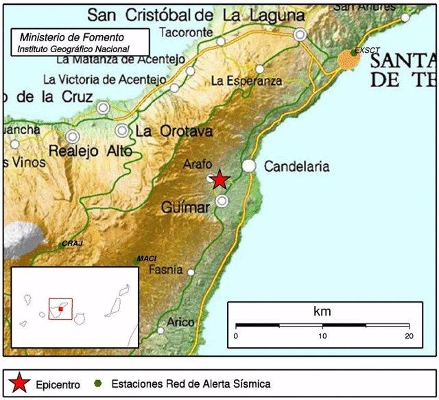 Epicentro de uno de los sismos
