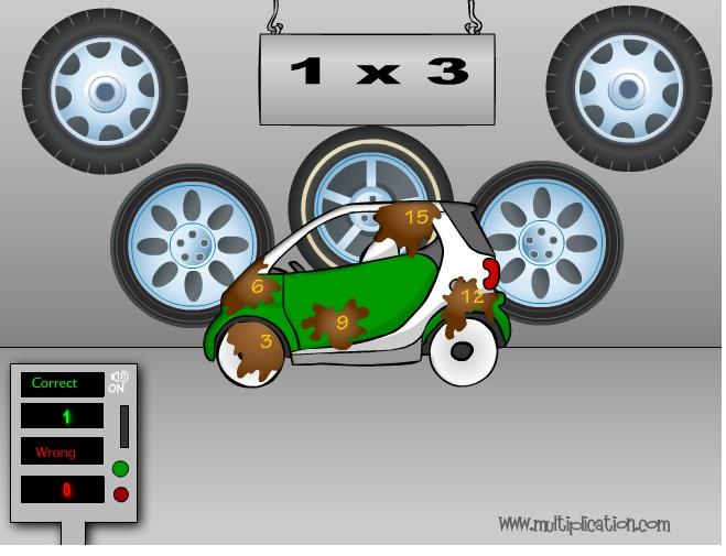 para este juego nos vamos hasta un lavacoches para que el coche salga limpio el nio deber resolver las operaciones de multiplicar que se le van