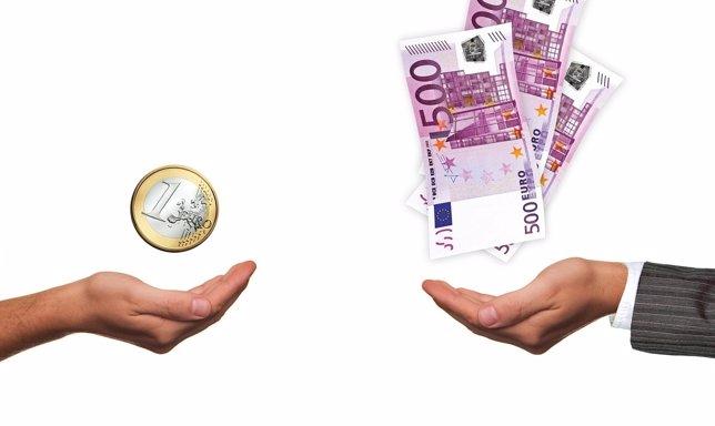 Sueldo, dinero, billete de 500 euros,