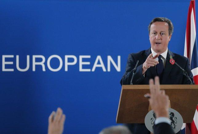El primer ministro británico, David Cameron, durante una cumbre en Bruselas