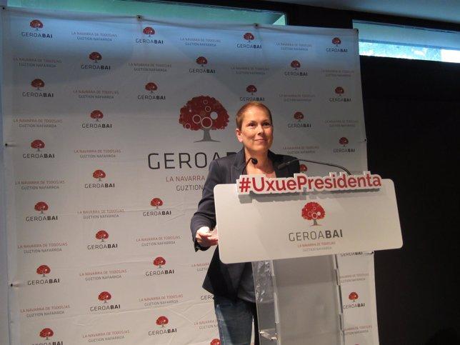 La candidata de Geroa Bai a la Presidencia del Gobierno foral, Uxue Barkos