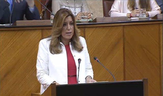 Susana Díaz durante su discurso en el debate de investidura