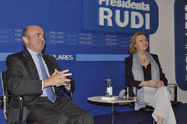 El ministro Luis de Guindos y la presidenta aragonesa, Luisa Fernanda Rudi.