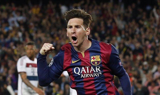 Lionel Messi tras marcar un doblete al Bayern