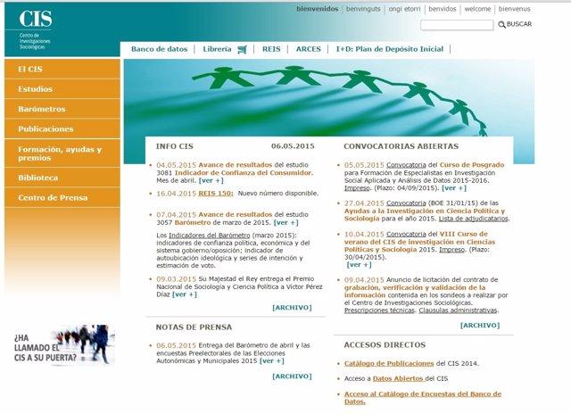 Página web del Centro de Investigaciones Sociológicas (CIS)