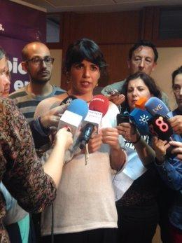 Teresa Rodríguez este lunes en atención a los medios