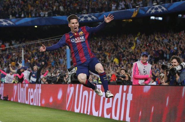 Messi salta por los aires tras marcar al Bayern en Champions