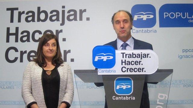 Diego y Buruaga en la sede del PP