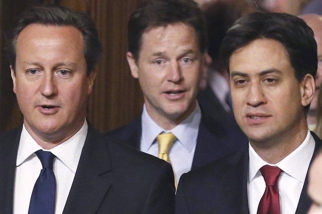 David Cameron, Ed Miliband y Nick Clegg
