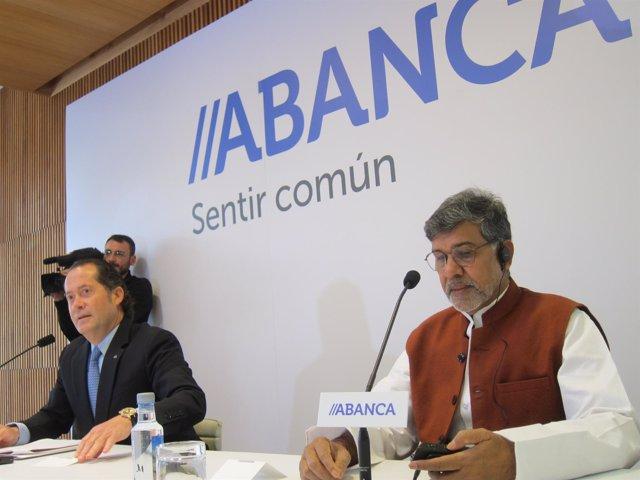 Juan Carlos Escotet y Kailash Satyarthi, premio nobel de la paz