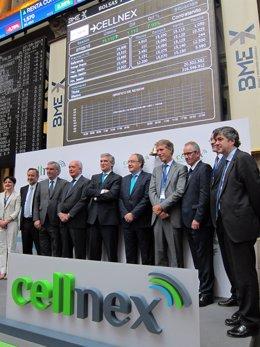 Equipo directivo de Cellnex en su salida a Bolsa