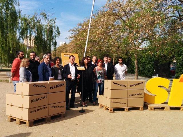 Alfred Bosch y otros candidatos de ERC Barcelona