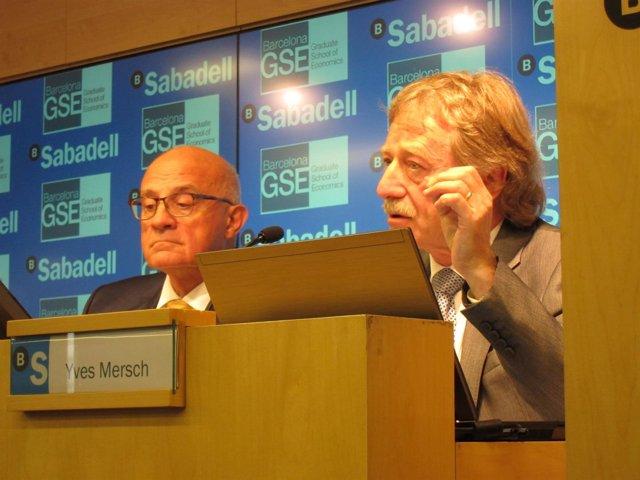 J.Oliu (Banco Sabadell) e Y.Mersch (BCE)