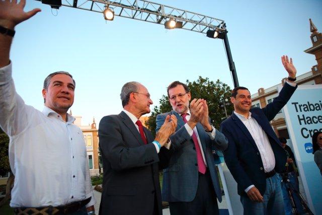 Bendodo, De la Torre, Rajoy y Moreno, en Málaga