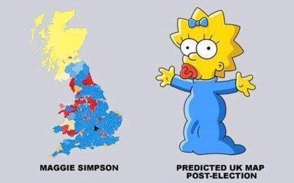 """Maggie Simpson """"gana"""" las elecciones del Reino Unido"""