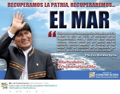 Bolivia solicita a sus ciudadanos el apoyo en Twitter con el hashtag #MarParaBolivia