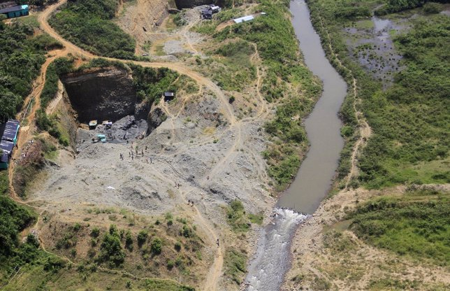 An aerial view shows ecological damage caused by illegal gold mining in Santande