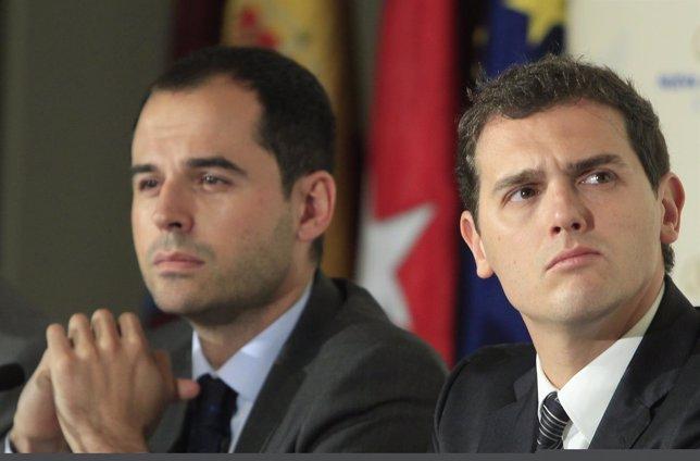 Ignacio Aguado, candidato de Ciudadanos a la Comunidad de Madrid, y Rivera
