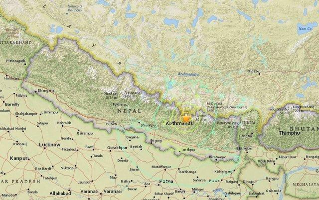 Mapa del terremoto de 7,4 en Nepal