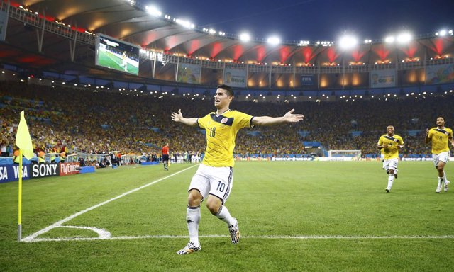 Colombia's Rodriguez celebrates his goal against Uruguay  during their 2014 Worl