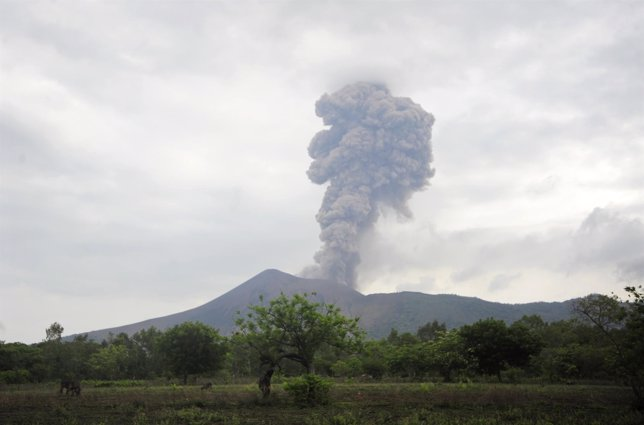 The Telica volcano spews ash and steam during an eruption in La Quimera