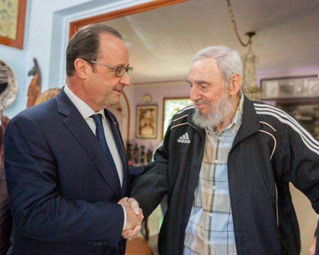 Encuentro entre François Hollande y Fidel Castro