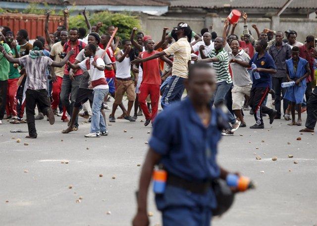 Protestantes en Burundi contra el Gobierno y su presidente Nkurunziza