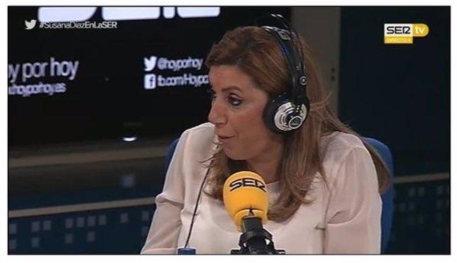 Susana Díaz durante la entrevista en la cadena Ser