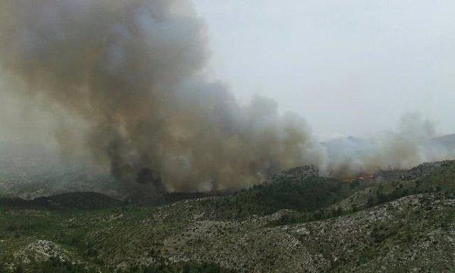 Incendio forestal en La Vall d'Ebo (Alicante)