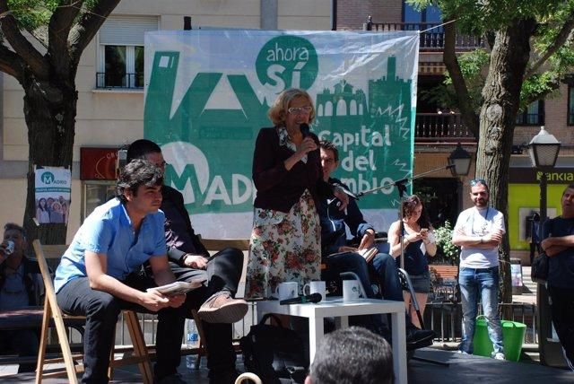 Manuela Carmena, en un acto de campaña