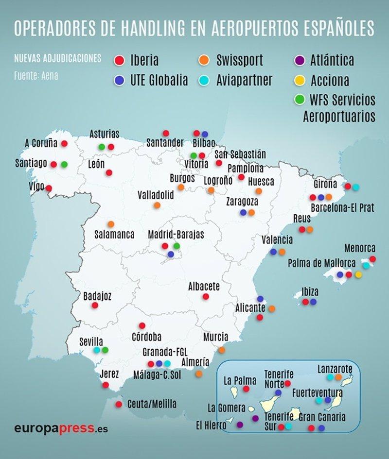 Aeropuertos En España Mapa.Que Companias Operan El Handling De Los Aeropuertos Espanoles
