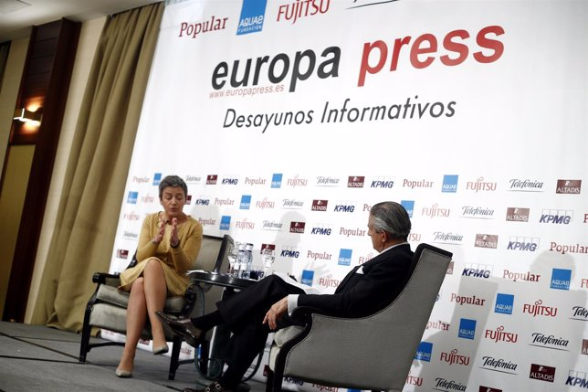 La comisaria Margrethe Ventager en los Desayunos de Europa Press
