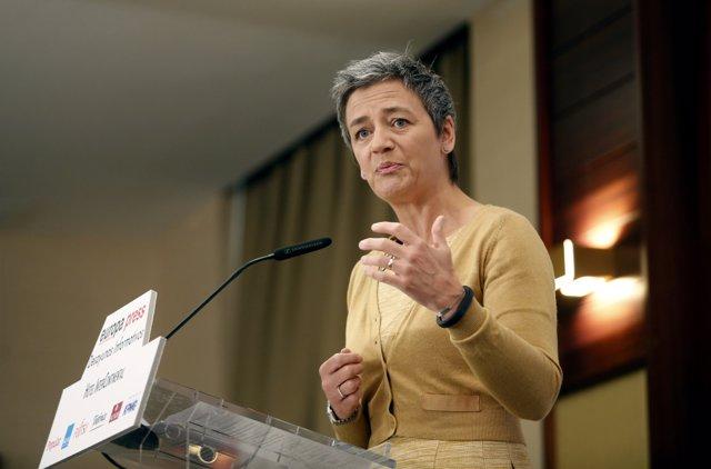 La comisaria Margrethe Vestager en los Desayunos de Europa Press