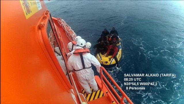 Rescate de Salvamento Marítimo en aguas del Estrecho