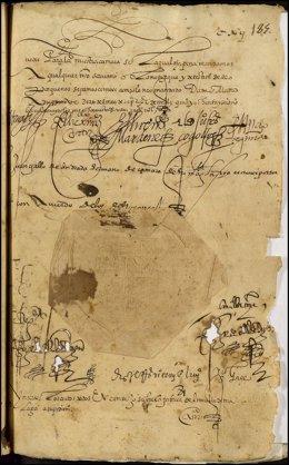 Real provisión firmada por Felipe II 1586 autoriza el puerto Málaga Archivo