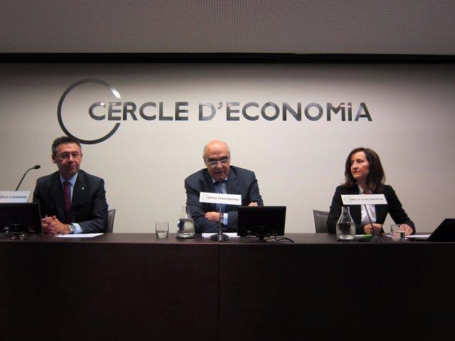 J.M.Bartomeu (pte FC Barcelona), Salvador Alemany (Abertis) y A.Andueza Deloitte