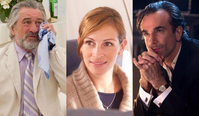 Robert De Niro, Julia Roberts y Daniel Day-Lewis