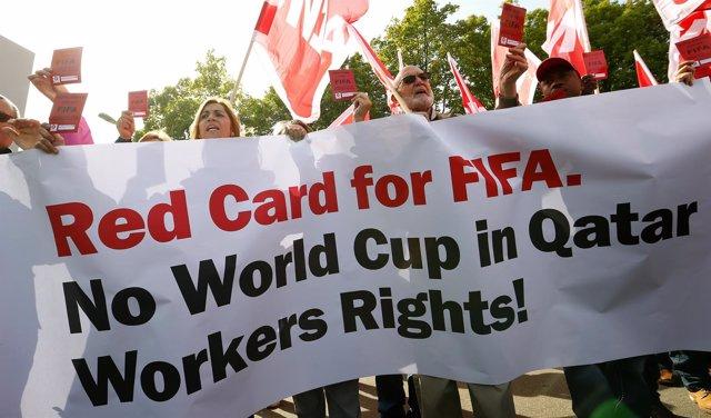 Protesta a favor de los trabajadores de las obras del Mundial Catar 2022