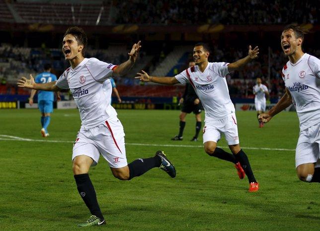 Denis Suárez celebra su gol ante el Zenit