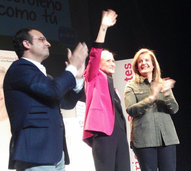 Cifuentes, con Fátima Báñez y Daniel Ortiz en el acto de campaña