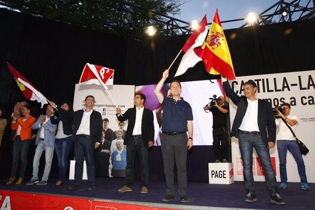 Emiliano García-Page en un mitin en Albacete