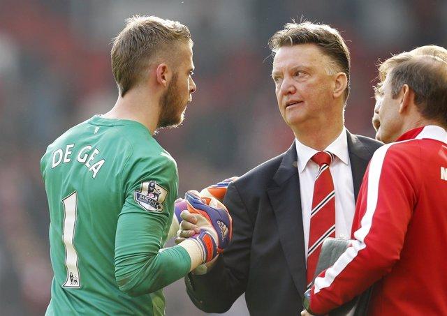 David de Gea con Louis Van Gaal en el Manchester United