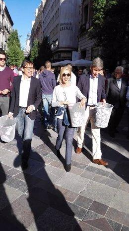 Rosa Díez con los candidatos de Madrid