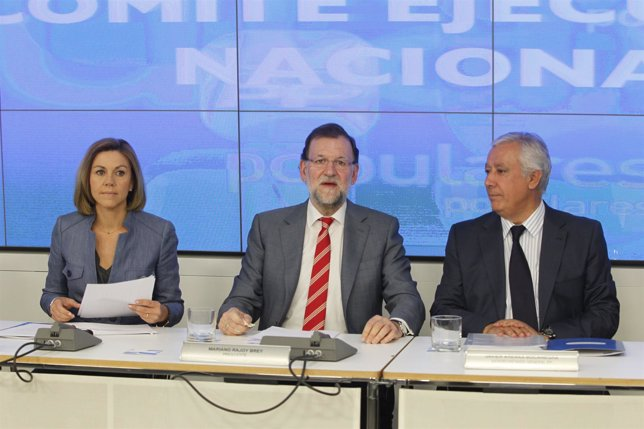 Ejecutiva del PP de 25 de mayo de 2015. María Dolores de Cospedal, Mariano Rajoy