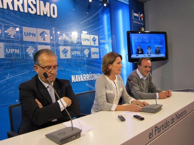 Enrique Maya, Yolanda Barcina y Javier Esparza en la rueda de prensa