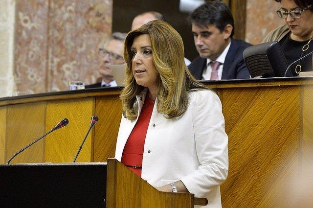 Susana Díaz durante la sesión de investidura