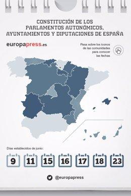 Calendario para la constitución de los parlamentos autonómicos, ayuntamientos...