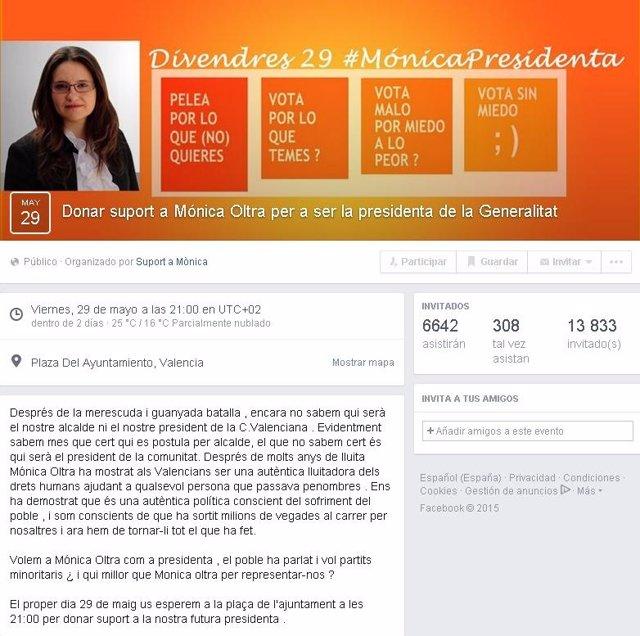 Convocatoria a la manifestación de apoyo a Mònica Oltra como Presidenta
